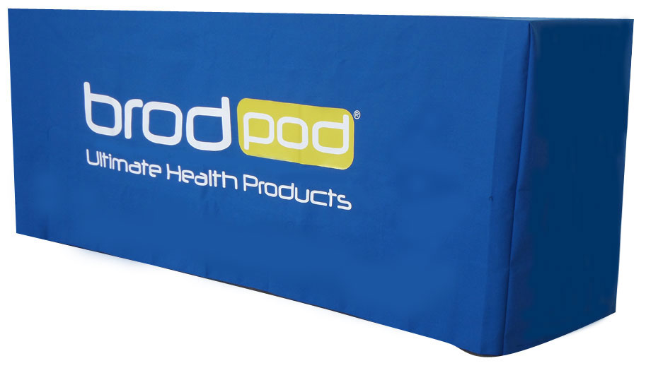 Printed Tablecloth   Full Colour Print On Royal Blue Box Fitted Tablecloth  ...