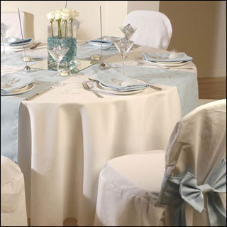 Wedding tablecloths place settings and table runners
